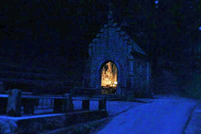 Rather spooky Blair Witch style photo of the chapel