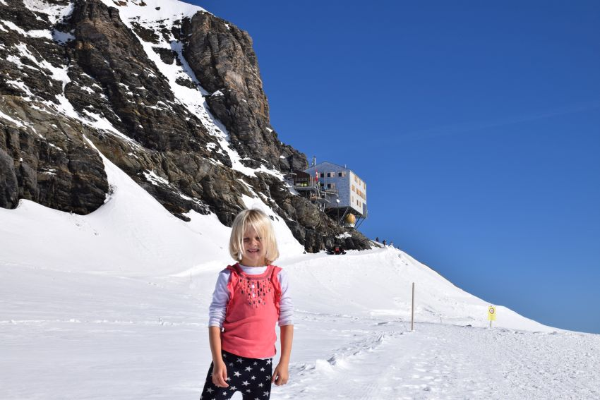 Abbie with the Monchjochshutte in the background